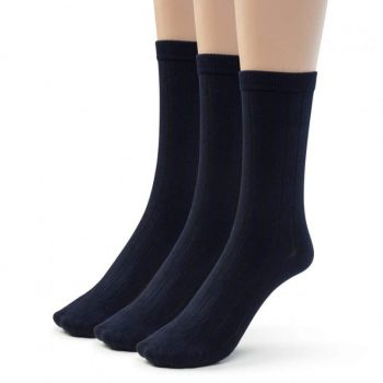 Bamboo ribbed navy crew sock