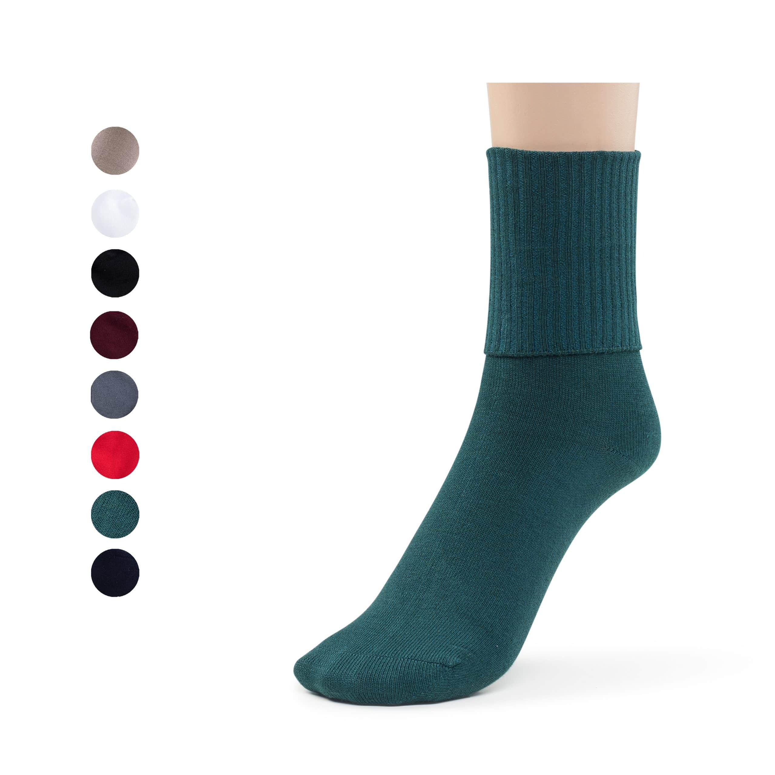 Girls Boys Turn Cuff Bamboo Casual Socks, Triple Roll Dress Crew Socks