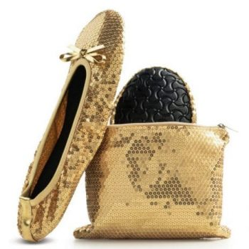 Foldable flat sequined gold